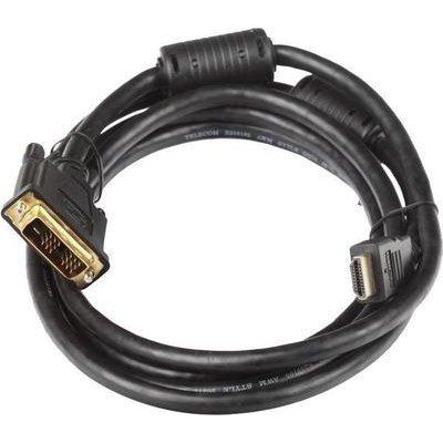 Кабель Telecom HDMI to DVI-D (19M -19M) 5м , с позолоченными контактами (HDMI to DVI-D-5м) кабель hdmi dvi d 10м buro позолоченные контакты ферритовые кольца hdmi 19m dvi d 10m