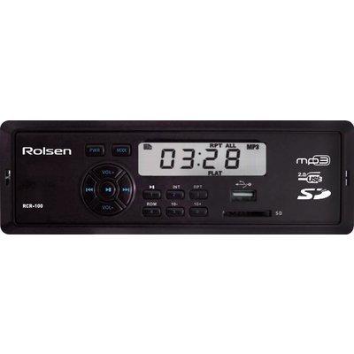 Автомагнитола Rolsen RCR-100B (RCR-100B)Автомагнитолы Rolsen<br>MP3/USB ресивер 1DIN, выходная мощность 4х45Вт, FM радио, память на 18 станций, монохромный дисплей, поддержка формата MP3, порты USB/SD/MMC, фиксированная панель, синяя подсветка<br>