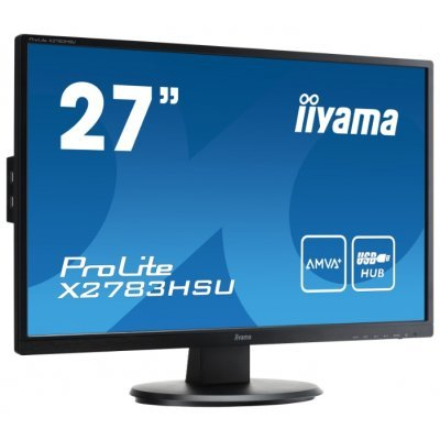 Монитор IIYAMA ProLite 27 X2783HSU-B1 (X2783HSU-B1)Мониторы IIYAMA<br>(16:9) 1920х1080 MVA, nonGLARE, nonTOUCH, 300cd/m2, H178°/V178°, 3000:1, 5М:1, 16,7M Color, 5ms, VGA, DVI, HDMI, USB-Hub, Tilt, Speakers, 3Y, Black<br>