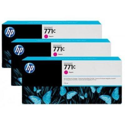 Картридж для струйных аппаратов HP 771C (B6Y33A) пурпурный (B6Y33A)Картриджи для струйных аппаратов HP<br>для HP Designjet Z6200 Printer series 775 мл, 3 шт. в упаковке<br>