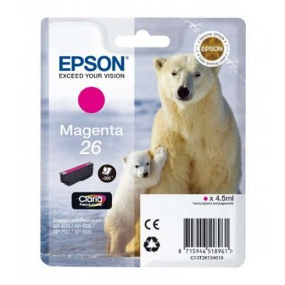 Картридж для струйных аппаратов Epson C13T26134010 пурпурный (C13T26134010)Картриджи для струйных аппаратов Epson<br>для Expression Premium XP-70 (300стр.)<br>