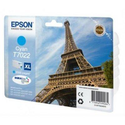 Картридж для струйных аппаратов Epson C13T70224010 голубой (C13T70224010)Картриджи для струйных аппаратов Epson<br>WP 4000/4500 Series Ink XL Cartridge Cyan 2k<br>