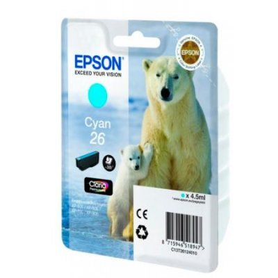 Картридж для струйных аппаратов Epson C13T26124010 голубой (C13T26124010)Картриджи для струйных аппаратов Epson<br>для Expression Premium XP-70 (300стр.)<br>