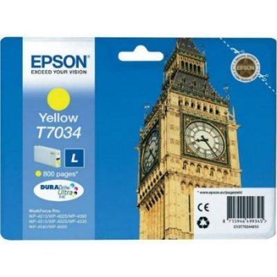 Картридж для струйных аппаратов Epson C13T70344010 желтый (C13T70344010)Картриджи для струйных аппаратов Epson<br>для I/C WP 4000/4500 0.8k<br>