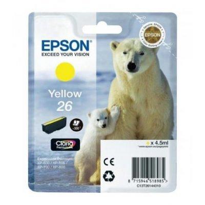 Картридж для струйных аппаратов Epson C13T26144010 желтый (C13T26144010)Картриджи для струйных аппаратов Epson<br>для Expression Premium XP-70 (300стр.)<br>