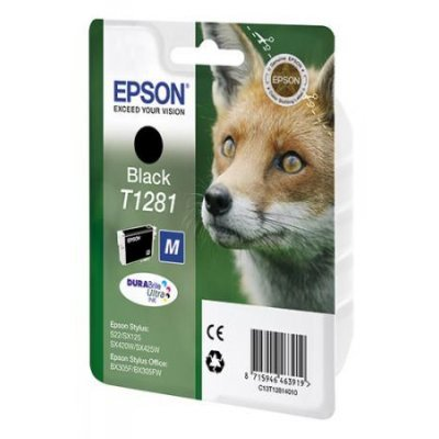 Картридж для струйных аппаратов Epson C13T12814011 T1281 черный (C13T12814011)Картриджи для струйных аппаратов Epson<br>для S22/SX125.<br>