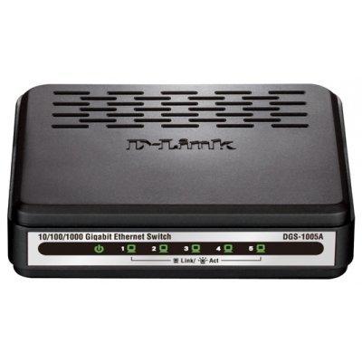 Коммутатор D-Link DGS-1005A (DGS-1005A)Коммутаторы D-Link<br>Коммутатор с 5 портами 10/100/1000Base-T<br>
