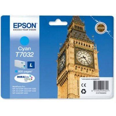 Картридж для струйных аппаратов Epson C13T70324010 голубой (C13T70324010)Картриджи для струйных аппаратов Epson<br>для I/C WP 4000/4500 0.8k<br>