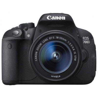 Цифровая фотокамера Canon EOS 700D Kit черный (8596B009)Цифровые фотокамеры Canon<br>18Mpix 18-135 IS STM 3 1080p SDHC turLCD Набор с объективомLP-E8<br>