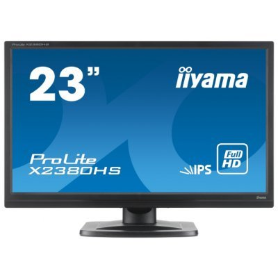 Монитор IIYAMA 23 X2380HS-B1 (X2380HS-B1)Мониторы IIYAMA<br>23   [16:9] 1920х1080 IPS, nonGLARE, 250cd/m2, H178°/V178°, 5М:1, 5ms, VGA, DVI, HDMI, Tilt, Speakers, 3Y, Black<br>