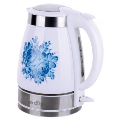 Электрический чайник Smile WK 5127 белый-голубой (WK 5127 белый-голубой)Электрические чайники Smile <br>керамика (голубой цветок)<br>