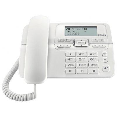 Проводной телефон Philips CRD200 белый (CRD200W/51)Проводные телефоны Philips<br>проводной телефон<br>повторный набор номера<br>определитель номеров (АОН)<br>встроенный дисплей<br>громкая связь<br>
