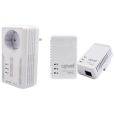 Powerline адаптер UPVEL UA-252PSK (UA-252PSK)Powerline адаптеры UPVEL<br>Комплект PowerLine адаптеров HomePlug AV 500 Мбит/с с поддержкой IP-TV, со встроенной розеткой, 2 LAN порта<br>