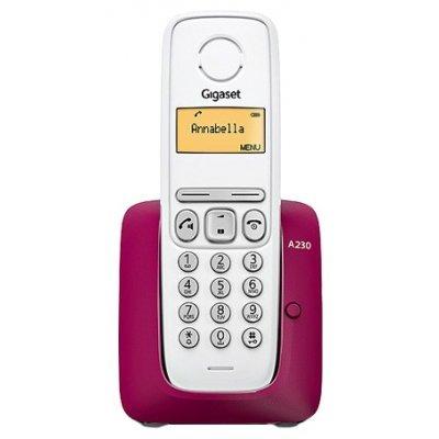Радиотелефон Gigaset A230 белый-фиолетовый (A230 PURPLE)Радиотелефоны Gigaset<br>комплект из базы и трубки<br>поддержка стандартов DECT/GAP<br>громкая связь (спикерфон)<br>определитель номеров (АОН/Caller ID)<br>аккумуляторы: AAAx2<br>монохромный дисплей на трубке<br>