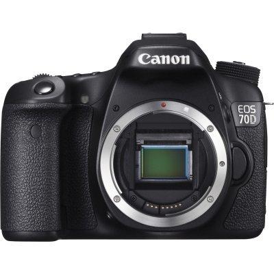 Цифровая фотокамера Canon EOS 70D Body черный (8469B004)Цифровые фотокамеры Canon<br>20Mpx CMOS, HD1080/30, экран 3.0  , Eye-Fi, Li-ion, поворотный экран, без объектива<br>