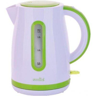 Электрический чайник Smile WK 5124 (WK 5124 (бел/зел))Электрические чайники Smile <br>Электрический чайник Smile WK 5124 является прекрасным решением для тех, кто любит устраивать себе перерывы в работе на чашечку чая или кофе. Он прост в управлении и долговечен в использовании. Чайник автоматически выключается при закипании.<br>