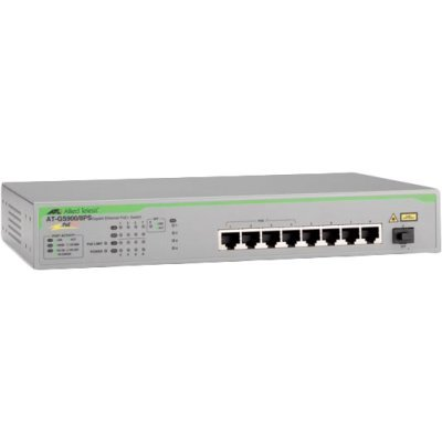 Коммутатор Allied Telesis Unmanaged Gigabit PoE+ Switch with 8 x 10/100/1000T ports and 1 x 1G SFP uplink (AT-GS900/8PS-50) (AT-GS900