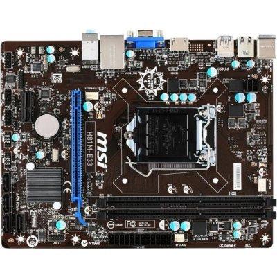 Материнская плата ПК MSI H81M-E33 (H81M-E33 BULK)Материнские платы ПК MSI<br>Socket-1150 Intel H81 DDR3 mATX AC`97 8ch(7.1) GbLAN SATA3 VGA+HDMI BULK<br>