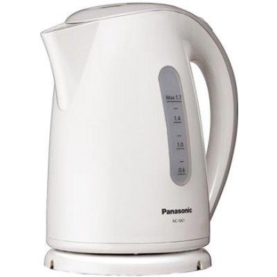 Электрический чайник Panasonic Чайник NC-GK1WTQ (NC-GK1WTQ)Электрические чайники Panasonic<br>Panasonic NC-GK1WTQ удобный электрочайник сделанный из пластика. Мощность модели в 2200 Вт. Классический дизайн и стандартное цветовое решение позволит устройству органично вписаться в кухонный интерьер. Корпус выполнен из экологически чистого высокопрочного пластика, который абсолютно не влияет на  ...<br>