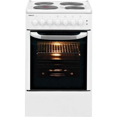 Электрическая плита Beko CSE 56100 GW (CSE 56100 GW)Электрические плиты Beko<br>В/Ш/Г см 85х50х60,стеклокерамика,эл. духовка,4 комфорки,таймер, белая<br>