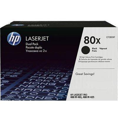 Тонер-картридж для лазерных аппаратов HP CF280XF 80X для LJ Pro 400 M401/Pro 400 MFP M425 (CF280XF)Тонер-картриджи для лазерных аппаратов HP<br>двойная упаковка, черный (2*6900 стр.)<br>