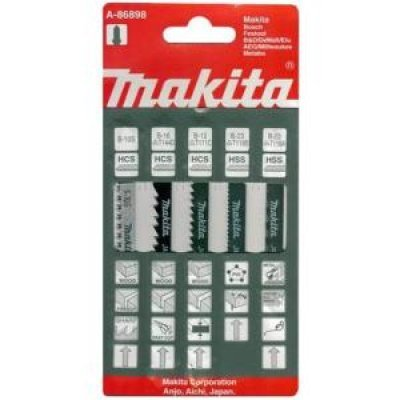 Пилка для лобзика Makita A-86898 (Лобзиковая пилка Makita A-86898)Пилки для лобзиков Makita<br>Набор универсальный Makita A-86898 из 5 полотен для лобзика по цветному металлу, дереву, пластику, стали. Пилки В10S, В13 и В16 тип HCS; В22 и В23 тип HSS<br>