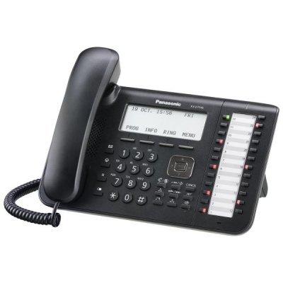Системный телефон Panasonic KX-DT546RU-B черный (KX-DT546RU-B)Системные телефоны Panasonic<br>Совместим с IP-АТС Panasonic серии TDE/NCP Большой ЖК-дисплей (6 строк) с подсветкой и с поддержкой кириллицы Спикерфон<br>