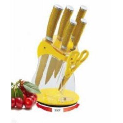 """Нож кухонный Zeidan Z-3070 (Z 3070)Ножи кухонные Zeidan <br>Ножи. с антибактер. покрытием. Лезвие из н/с с цвет. покрытием золотистого цвета, ручки декор. под кожу.8""""/1,8 мм-нож поварской, 8""""/1,8 мм-нож разделочный, 8""""/1,8 мм-нож д/хлеба, 5""""/1,2 мм-нож универс.,3,5""""/1,2 мм-нож д/овощей, ножницы, подставка.<br>"""