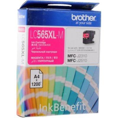 Картридж для струйных аппаратов Brother LC-565XLM для MFCJ2310 2510 3520 3720 Пурпурный 1200стр LC565XLM (LC565XLM)