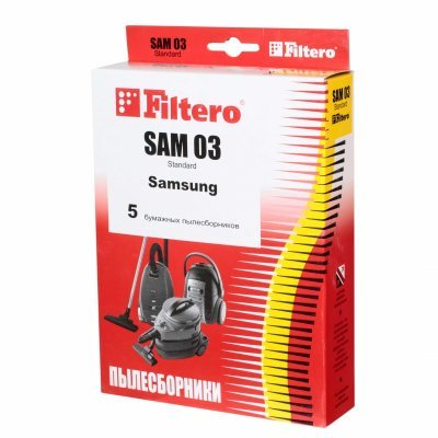 Пылесборник для пылесоса Filtero SAM 03 (5) Standard (SAM 03 (5) STANDARD)Пылесборники для пылесосов Filtero<br>Мешки-пылесборники Filtero SAM 03 Standard 5 штук. Бумажные пылесборники Filtero произведены из специальной двухслойной фильтровальной бумаги на оборудовании соответствующему европейскому стандарту качества ISO 9002.<br>