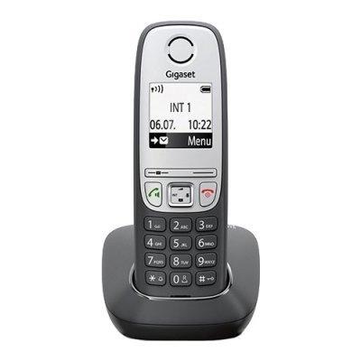Радиотелефон Gigaset A415 black (S30852-H2505-S301)Радиотелефоны Gigaset<br>Бренд: Gigaset<br>Тип: Базовая станция + трубка<br>Стандарт: DECT/GAP<br>Количество трубок в комплекте: 1<br>Максимальный радиус действия: 50 / 300 м<br>Связь между трубками: между несколькими трубками<br>АОН: есть/есть<br>Телефонная книга: есть, на 100 номеров<br>Подсветка: есть<br>Цвет: Черный<br>Прочие функции и сво ...<br>