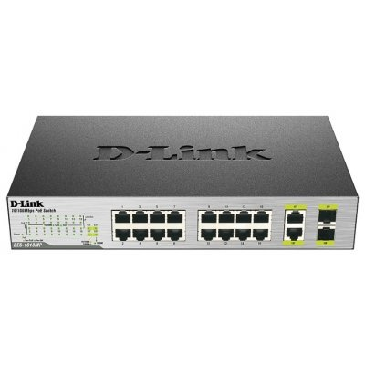 Коммутатор D-Link DES-1018MP (DES-1018MP/A1A)Коммутаторы D-Link<br>D-Link DES-1018MP/A1A, 16 Ports 10/100 Mbps PoE + 2 10/100/1000BASE-T/SFP Combo Ports Unmanaged Switch<br>