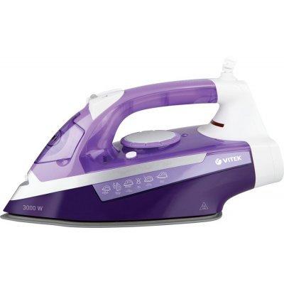 Утюг Vitek VT-1247 (1247-VT-02)Утюги Vitek<br>пароувлажнение; мощность: 3000Вт; емкость для воды: 250мл; подошва: керамическая UniCera; самоочистка от накипи; цвет: фиолетовый и белый<br>