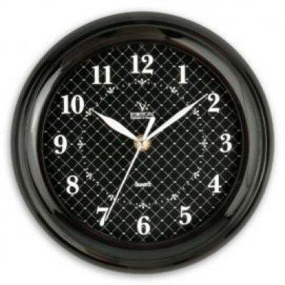 Часы настенные Вега П 6-6-93 классика черные арабские сетка (П 6-6-93)Часы настенные Вега <br><br>