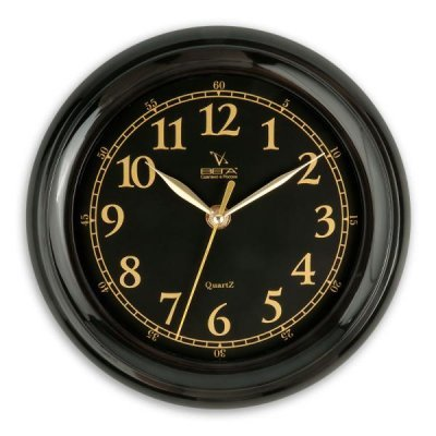 Часы настенные Вега П 6-6-17 Классика черные арабские (П 6-6-17)