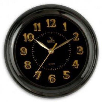 Часы настенные Вега П 6-6-100 Классика черные арабские (П 6-6-100)Часы настенные Вега <br><br>