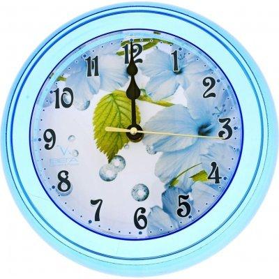 Часы настенные Вега П 6-4-3 Листбелые голубой кант арабские (П 6-4-3)Часы настенные Вега <br>Описание:<br>Настенные часы Вега П6-4-3 с циферблатом-картинкой и голубым корпусом, выглядят ярко, но сдерженно. Они отлично подойдут для установки в любом помещении: спальне, кухне, гостинной или детской. Часы выполнены из пластика, имеют стрелки с плавным и тихим ходом, а также проверенный кварцевый  ...<br>