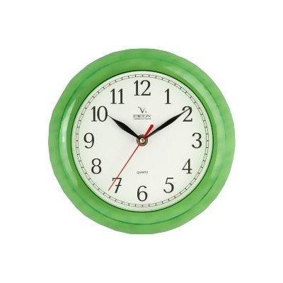 Часы настенные Вега П 6-3-98 Классика бел, зел кант арабские (П 6-3-98)Часы настенные Вега <br>Часы Классика.<br>    Часы из пластика.<br>