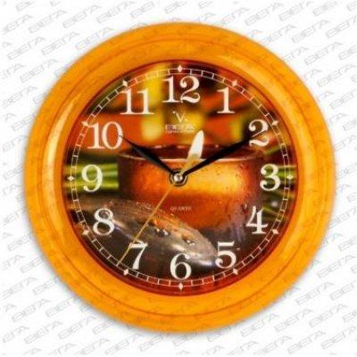 Часы настенные Вега П 6-17-4 Свеча желтый кант (П 6-17-4)Часы настенные Вега <br>Часы настенные Вега П 6-17-4 Свеча желтый кант<br>