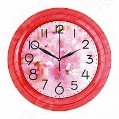 Часы настенные Вега П 6-1-104 Цветы розовые тона (П 6-1-104) часы настенные вега п 1 6 6 7