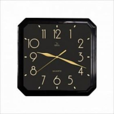 Часы настенные Вега П 4-6/6-74 Квадратные Черные Арабские золотом (П 4-6/6-74)Часы настенные Вега <br>Часы настенные Вега П 4-6/6-74 Квадратные Черные Арабские золотом<br>