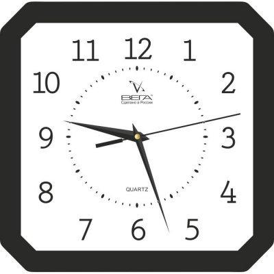 Часы настенные Вега П 4-6/6-19 Белые Черный кант Арабские (П 4-6/6-19)