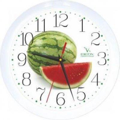 Часы настенные Вега П 1-7/7-96 Арбуз Белый круг (П 1-7/7-96)Часы настенные Вега <br>Кварцевые часы Вега Арбуз П1-7/7-96 выполнены в благородном белом цвете и украшены замечательным рисунком. На этом фоне отлично видны крупные арабские цифры и контрастные стрелки. Надежный механизм прослужит вам не один год.<br>