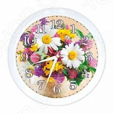 """Часы настенные Вега П 1-7/7-219 """"Ромашки БУКЕТ"""" (П 1-7/7-219)"""