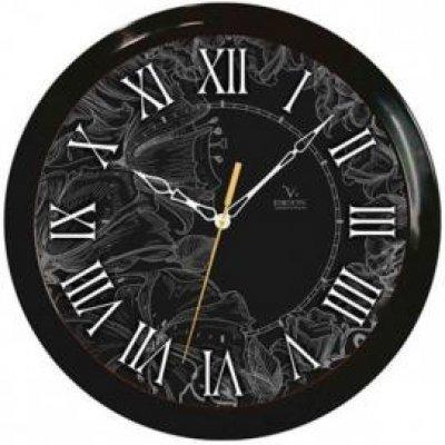 Часы настенные Вега П 1-6/6-210 Черные Римские Тонкий рисунок (П 1-6/6-210)Часы настенные Вега <br><br>