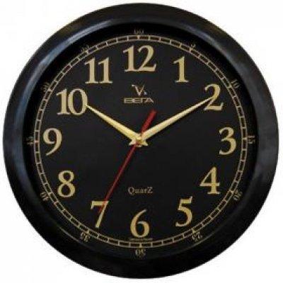 Часы настенные Вега П 1-6/6-17 Классика Черный арабские золотая койма (П 1-6/6-17)