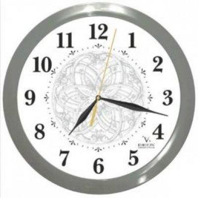 Часы настенные Вега П 1-5/7-103 Тонкий узор Серый кант Арабские (П 1-5/7-103)Часы настенные Вега <br><br>