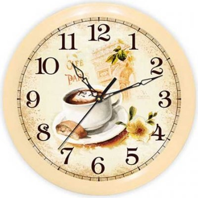 Часы настенные Вега П 1-14/7-220 Кофе Франция (П 1-14/7-220)Часы настенные Вега <br>Материал корпуса пластик<br>    Механизм кварцевый<br>    Тип часы для кухни<br>    Габариты 28.5x28.5 см<br>