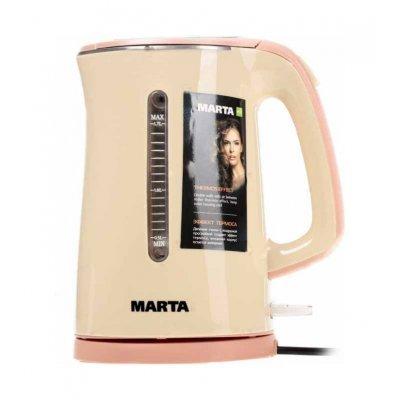Электрический чайник Marta MT-1065 beige (MT-1065 beige)Электрические чайники Marta<br>чайник<br>объем 1.7 л<br>мощность 1700 Вт<br>закрытая спираль<br>установка на подставку в любом положении<br>корпус из стали и пластика<br>ненагревающийся корпус<br>индикация включения<br>