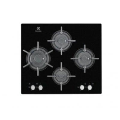 Газовая варочная панель Electrolux EGT 96647 LK (EGT96647LK)Газовые варочные панели Electrolux<br>газовая варочная панель<br>поверхность из закаленного стекла<br>4 газовые конфорки<br>переключатели поворотные<br>электроподжиг<br>независимая установка<br>габариты (ШхГ) 59x52 см<br>